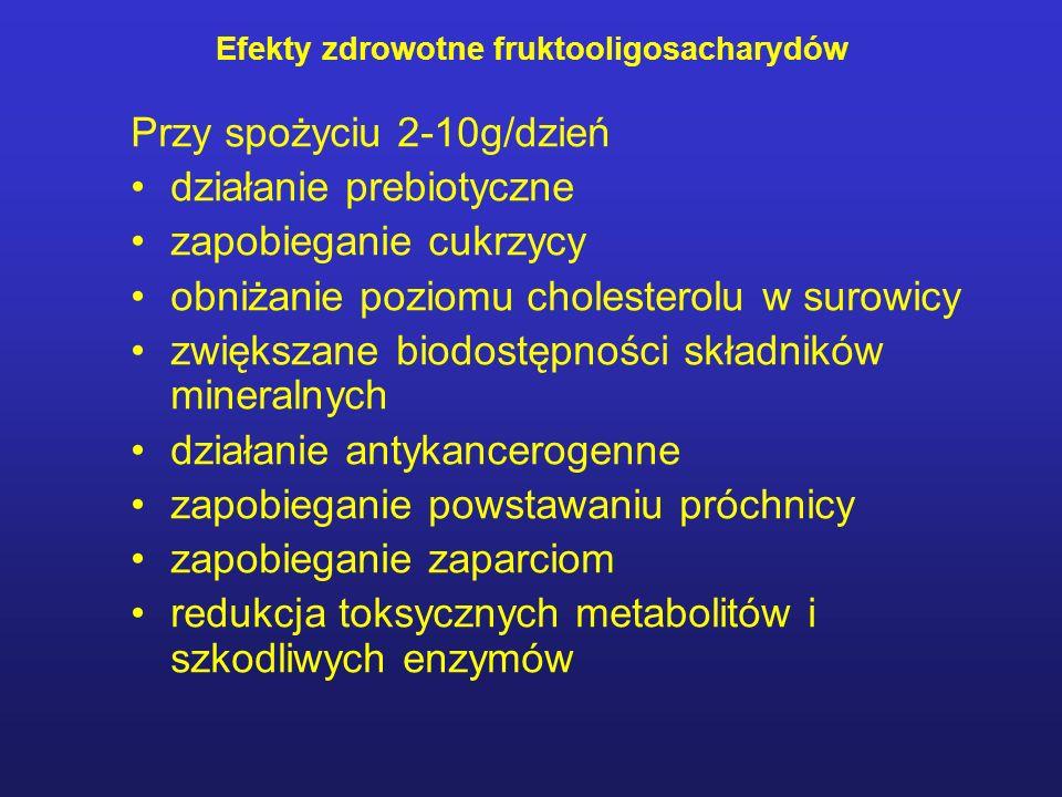 Przy spożyciu 2-10g/dzień działanie prebiotyczne zapobieganie cukrzycy obniżanie poziomu cholesterolu w surowicy zwiększane biodostępności składników mineralnych działanie antykancerogenne zapobieganie powstawaniu próchnicy zapobieganie zaparciom redukcja toksycznych metabolitów i szkodliwych enzymów Efekty zdrowotne fruktooligosacharydów