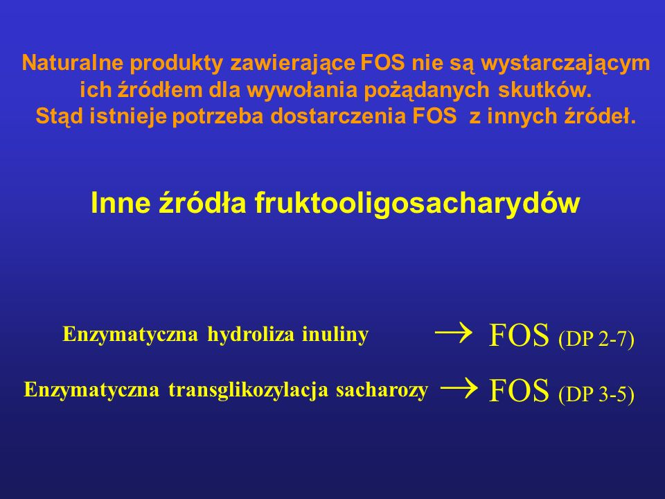 Inne źródła fruktooligosacharydów FOS (DP 2-7) Enzymatyczna hydroliza inuliny  Enzymatyczna transglikozylacja sacharozy  FOS (DP 3-5) Naturalne produkty zawierające FOS nie są wystarczającym ich źródłem dla wywołania pożądanych skutków.