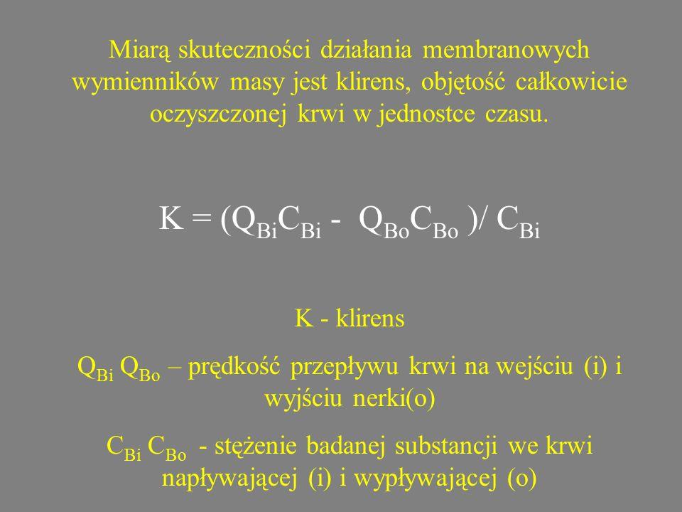 Miarą skuteczności działania membranowych wymienników masy jest klirens, objętość całkowicie oczyszczonej krwi w jednostce czasu. K = (Q Bi C Bi - Q B