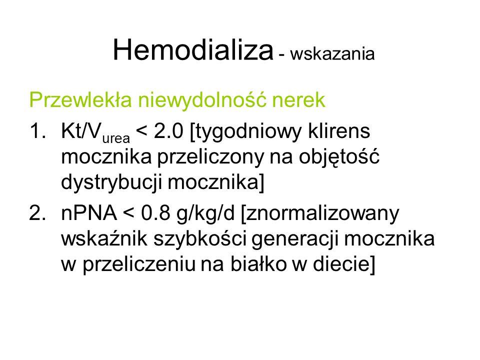 Hemodializa - wskazania Przewlekła niewydolność nerek 1.Kt/V urea < 2.0 [tygodniowy klirens mocznika przeliczony na objętość dystrybucji mocznika] 2.n