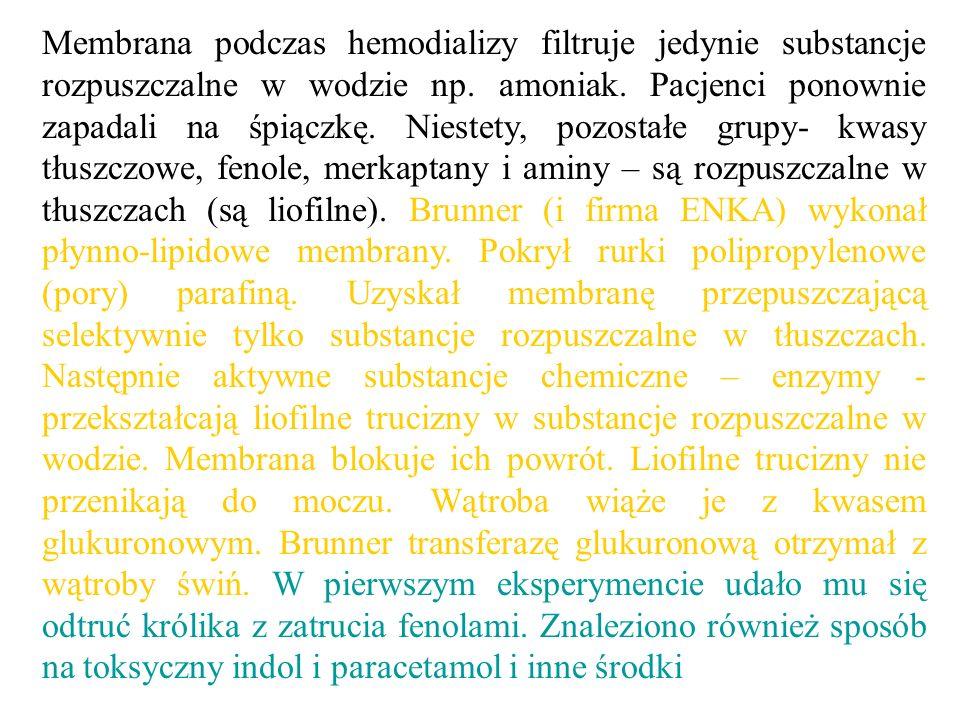 Membrana podczas hemodializy filtruje jedynie substancje rozpuszczalne w wodzie np. amoniak. Pacjenci ponownie zapadali na śpiączkę. Niestety, pozosta