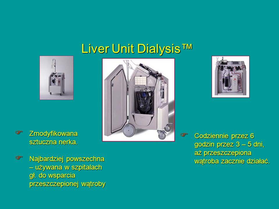 Liver Unit Dialysis™  Zmodyfikowana sztuczna nerka.  Najbardziej powszechna – używana w szpitalach gł. do wsparcia przeszczepionej wątroby  Codzien