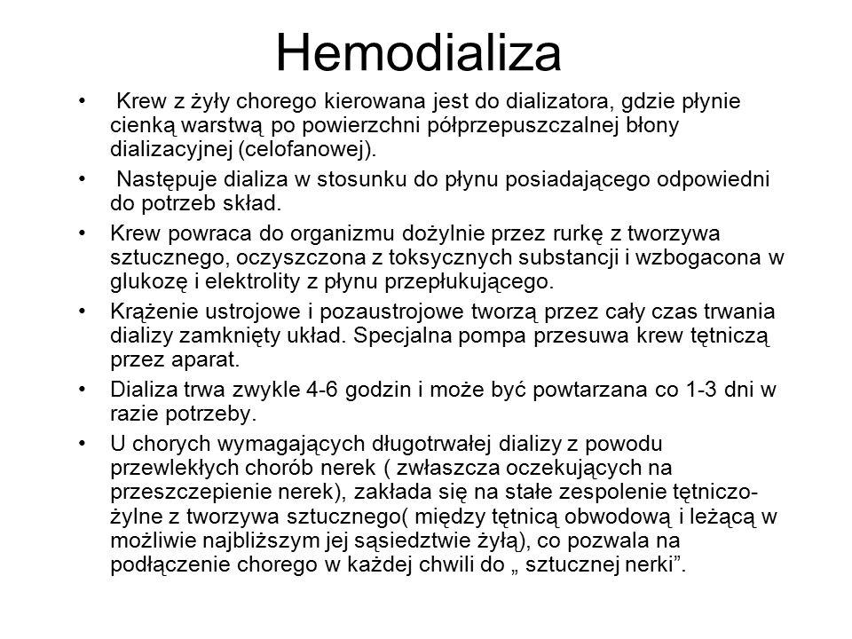 Hemodializa Krew z żyły chorego kierowana jest do dializatora, gdzie płynie cienką warstwą po powierzchni półprzepuszczalnej błony dializacyjnej (celo