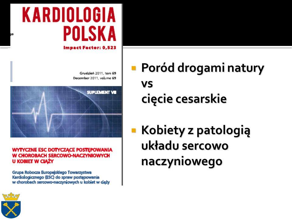  Poród drogami natury vs cięcie cesarskie cięcie cesarskie  Kobiety z patologią układu sercowo naczyniowego