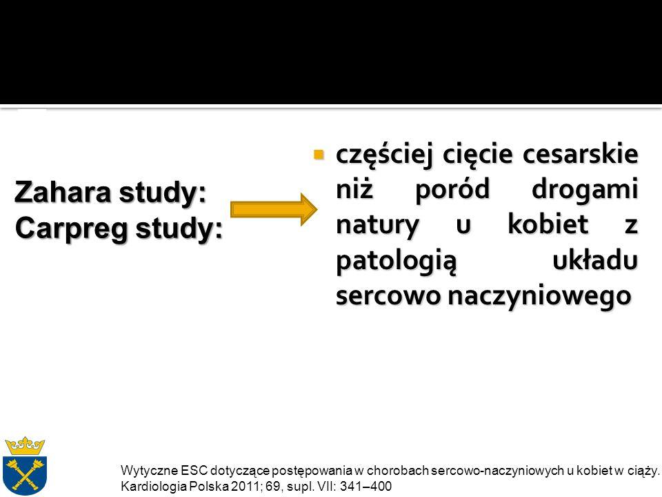  częściej cięcie cesarskie niż poród drogami natury u kobiet z patologią układu sercowo naczyniowego Zahara study: Carpreg study: Wytyczne ESC dotyczące postępowania w chorobach sercowo-naczyniowych u kobiet w ciąży.