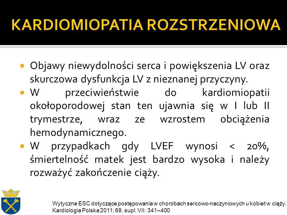  Objawy niewydolności serca i powiększenia LV oraz skurczowa dysfunkcja LV z nieznanej przyczyny.