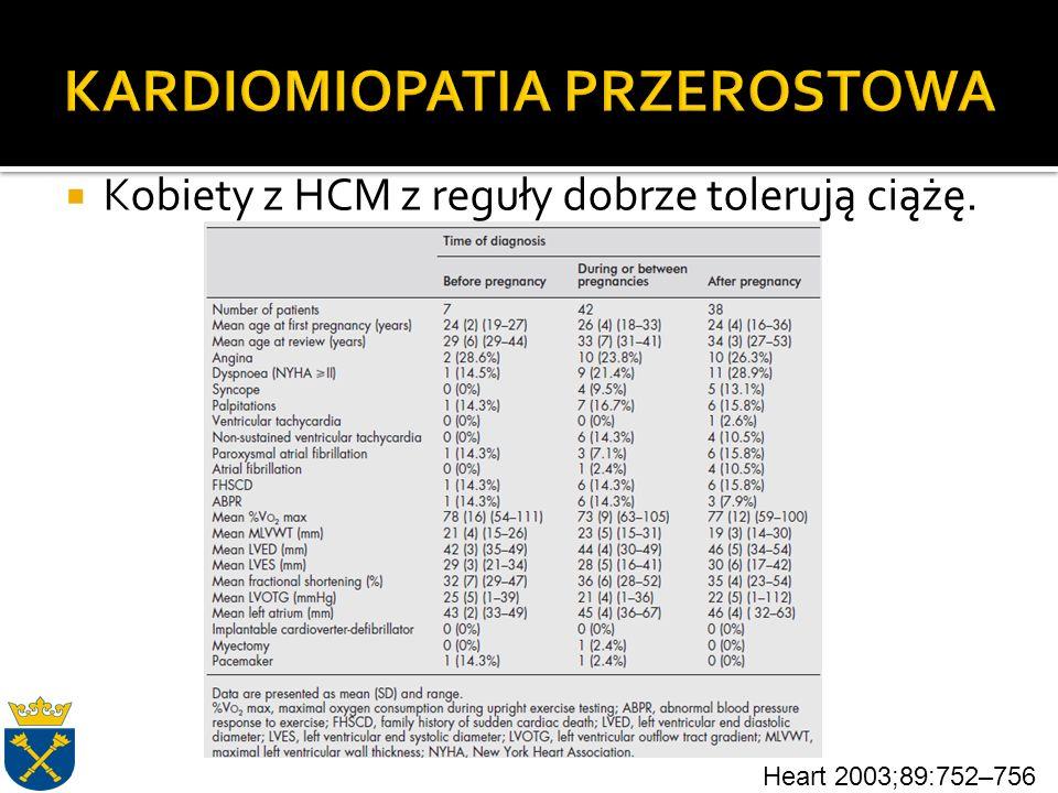  Kobiety z HCM z reguły dobrze tolerują ciążę. Heart 2003;89:752–756