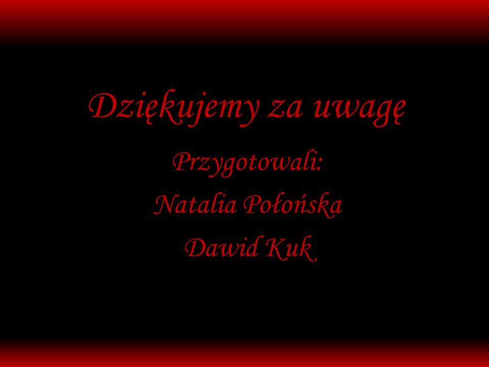 Dziękujemy za uwagę Przygotowali: Natalia Połońska Dawid Kuk