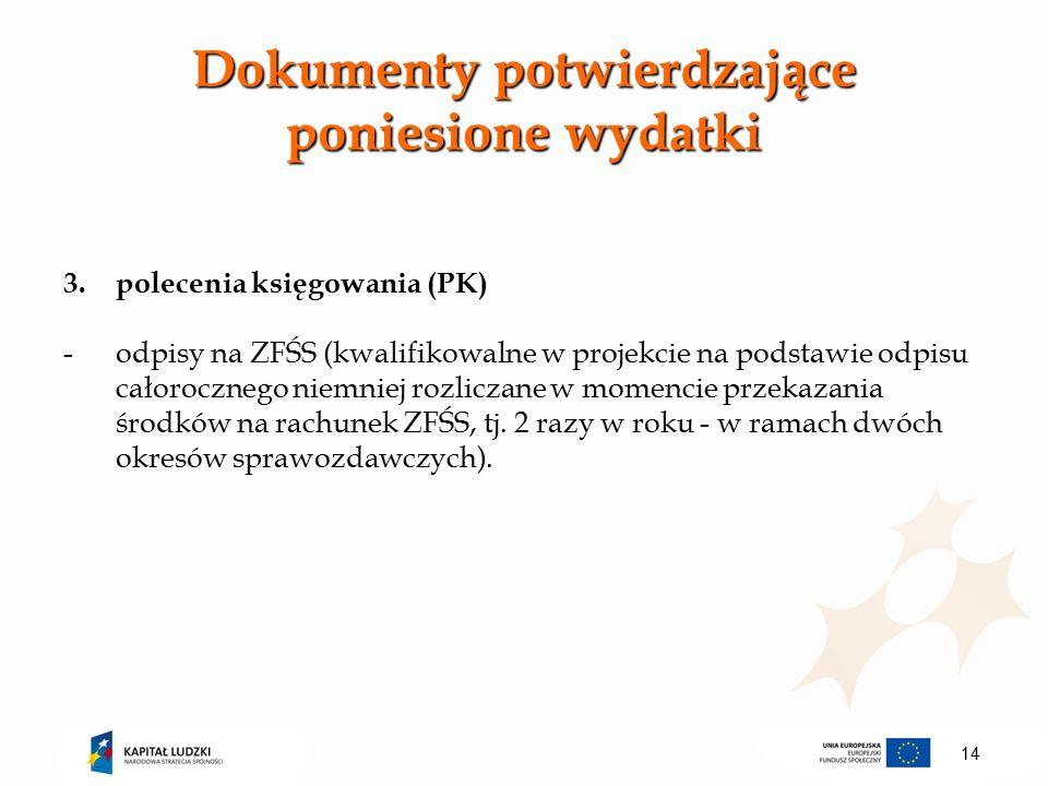 Dokumenty potwierdzające poniesione wydatki 3.polecenia księgowania (PK) -odpisy na ZFŚS (kwalifikowalne w projekcie na podstawie odpisu całorocznego niemniej rozliczane w momencie przekazania środków na rachunek ZFŚS, tj.