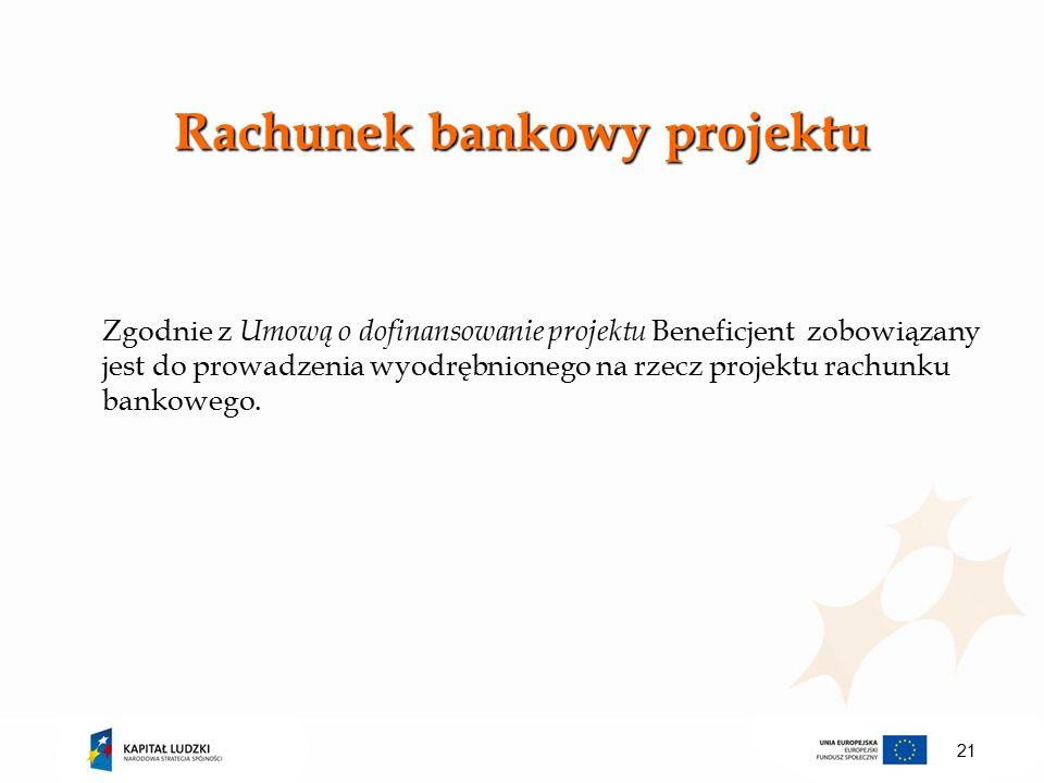 Zgodnie z Umową o dofinansowanie projektu Beneficjent zobowiązany jest do prowadzenia wyodrębnionego na rzecz projektu rachunku bankowego.