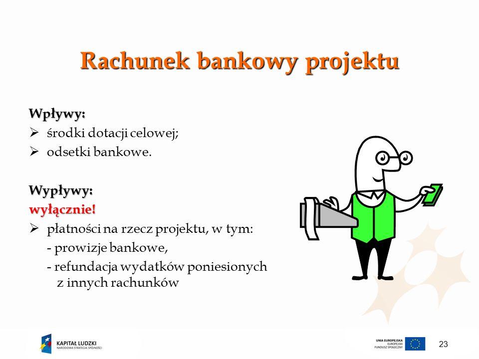 Rachunek bankowy projektu Wpływy:  środki dotacji celowej;  odsetki bankowe.Wypływy:wyłącznie.
