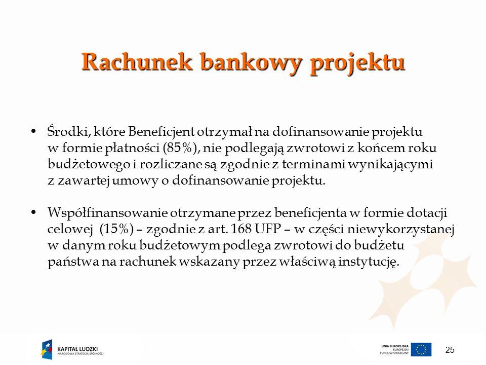 Rachunek bankowy projektu Środki, które Beneficjent otrzymał na dofinansowanie projektu w formie płatności (85%), nie podlegają zwrotowi z końcem roku budżetowego i rozliczane są zgodnie z terminami wynikającymi z zawartej umowy o dofinansowanie projektu.