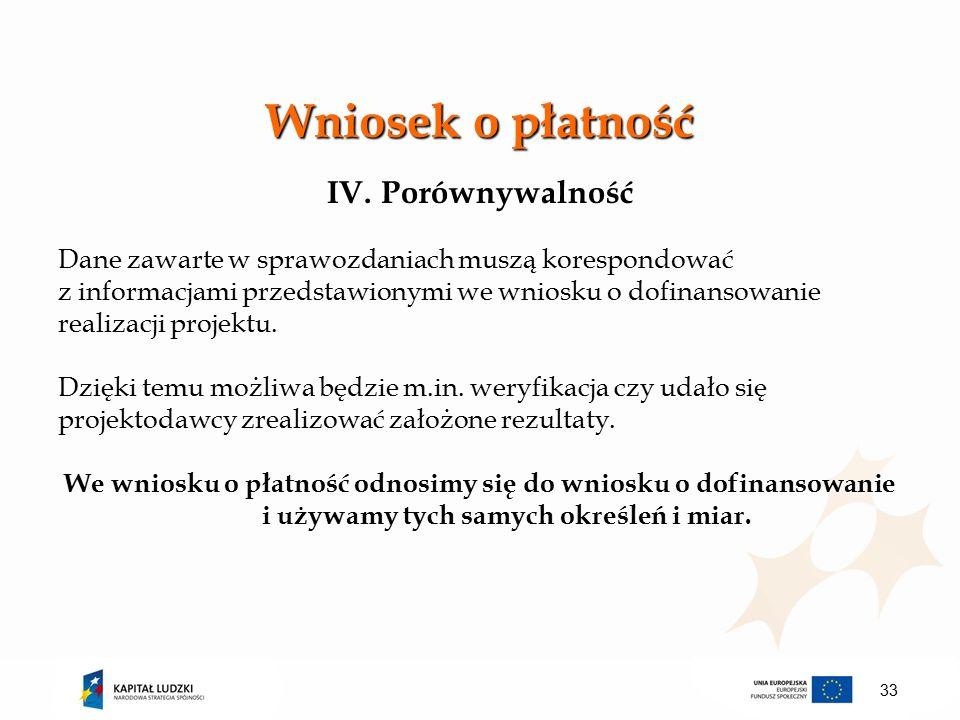 Wniosek o płatność IV.Porównywalność Dane zawarte w sprawozdaniach muszą korespondować z informacjami przedstawionymi we wniosku o dofinansowanie realizacji projektu.