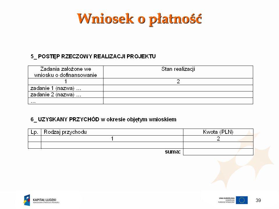 Wniosek o płatność 39