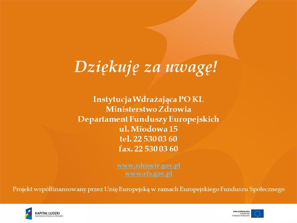 Instytucja Wdrażająca PO KL Ministerstwo Zdrowia Departament Funduszy Europejskich ul.