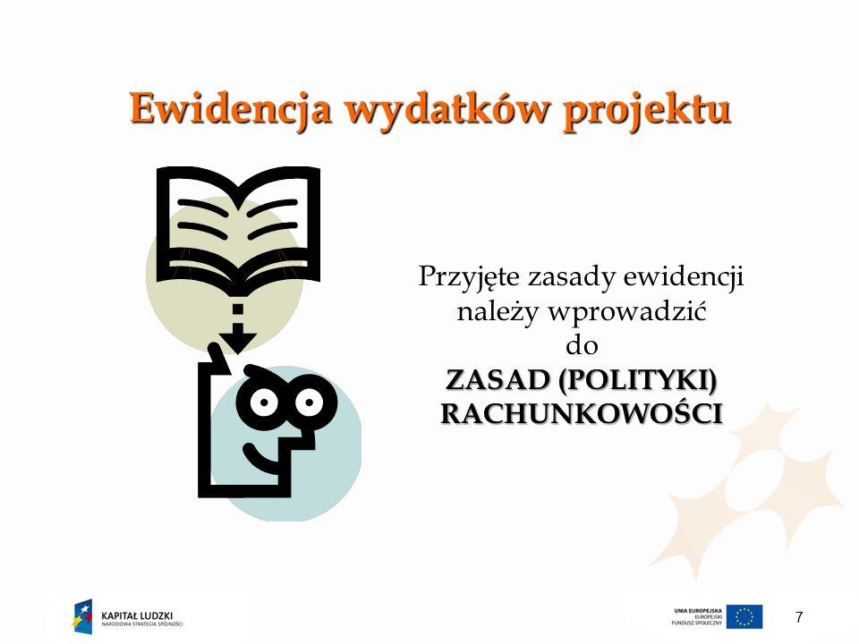 Ewidencja wydatków projektu ZASAD (POLITYKI) RACHUNKOWOŚCI Przyjęte zasady ewidencji należy wprowadzić do ZASAD (POLITYKI) RACHUNKOWOŚCI 7