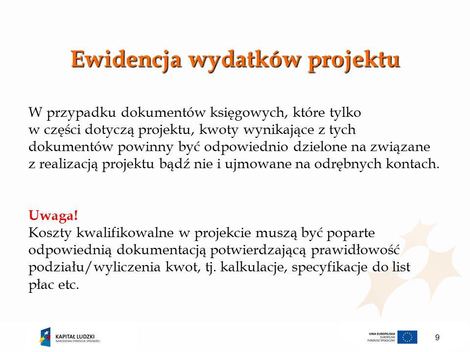 Ewidencja wydatków projektu W przypadku dokumentów księgowych, które tylko w części dotyczą projektu, kwoty wynikające z tych dokumentów powinny być odpowiednio dzielone na związane z realizacją projektu bądź nie i ujmowane na odrębnych kontach.
