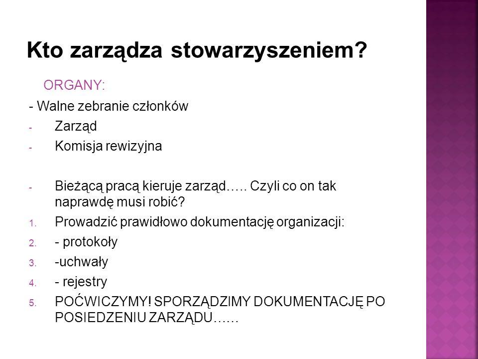 ORGANY: - Walne zebranie członków - Zarząd - Komisja rewizyjna - Bieżącą pracą kieruje zarząd…..