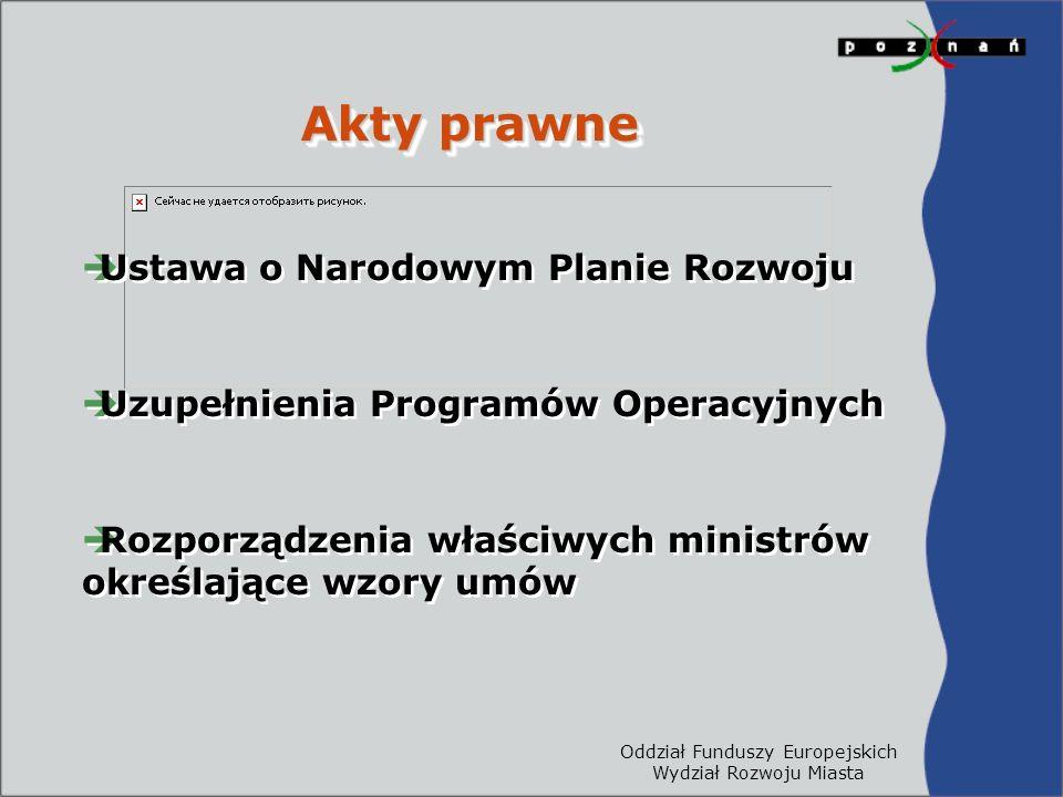 Oddział Funduszy Europejskich Wydział Rozwoju Miasta Akty prawne  Ustawa o Narodowym Planie Rozwoju  Uzupełnienia Programów Operacyjnych  Rozporządzenia właściwych ministrów określające wzory umów  Ustawa o Narodowym Planie Rozwoju  Uzupełnienia Programów Operacyjnych  Rozporządzenia właściwych ministrów określające wzory umów