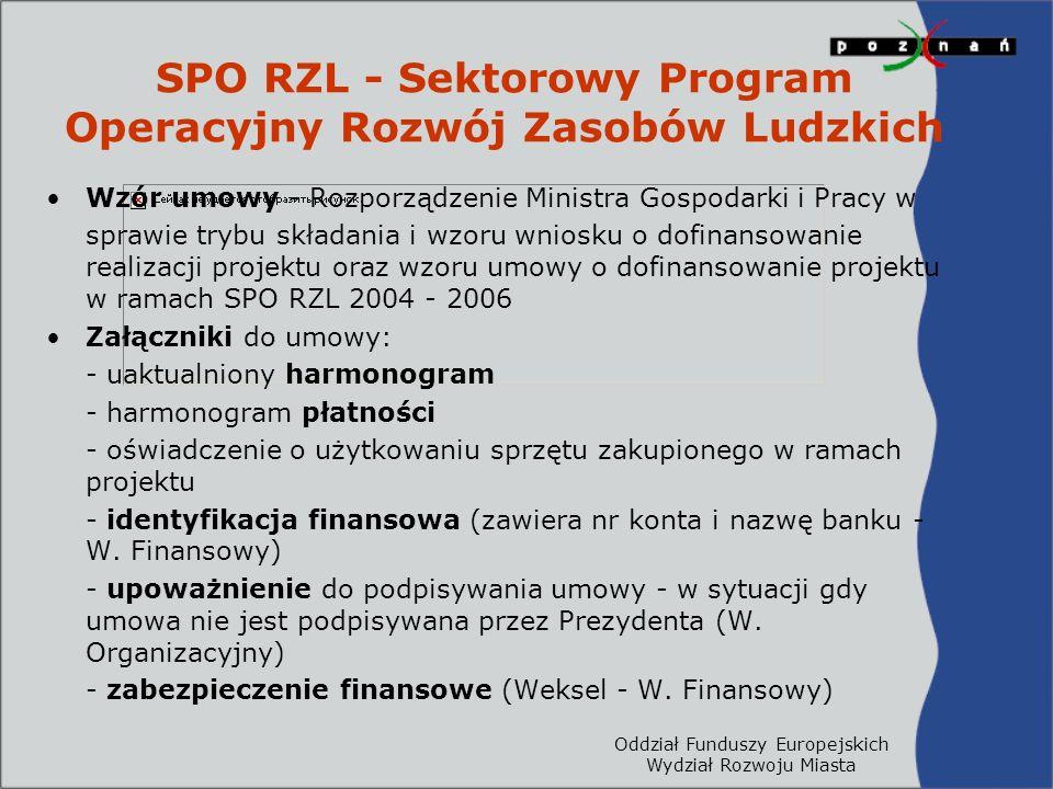 Oddział Funduszy Europejskich Wydział Rozwoju Miasta SPO RZL - Sektorowy Program Operacyjny Rozwój Zasobów Ludzkich Wzór umowy - Rozporządzenie Ministra Gospodarki i Pracy w sprawie trybu składania i wzoru wniosku o dofinansowanie realizacji projektu oraz wzoru umowy o dofinansowanie projektu w ramach SPO RZL 2004 - 2006 Załączniki do umowy: - uaktualniony harmonogram - harmonogram płatności - oświadczenie o użytkowaniu sprzętu zakupionego w ramach projektu - identyfikacja finansowa (zawiera nr konta i nazwę banku - W.
