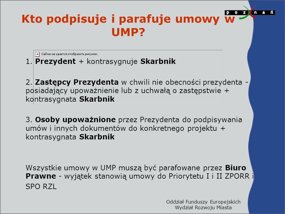 Oddział Funduszy Europejskich Wydział Rozwoju Miasta Kto podpisuje i parafuje umowy w UMP? 1. Prezydent + kontrasygnuje Skarbnik 2. Zastępcy Prezydent