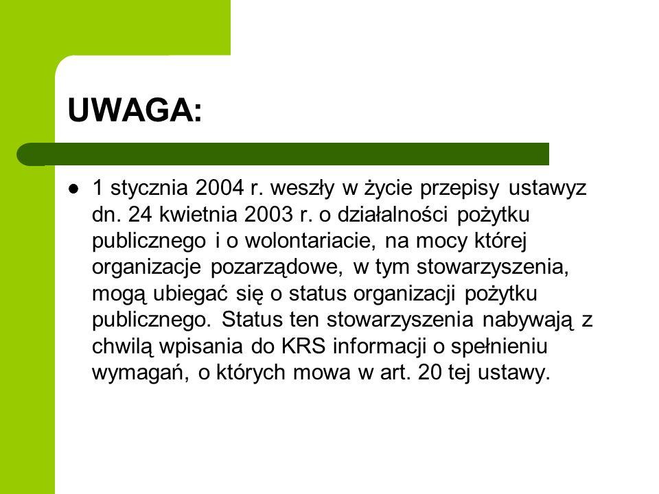 UWAGA: 1 stycznia 2004 r. weszły w życie przepisy ustawyz dn.