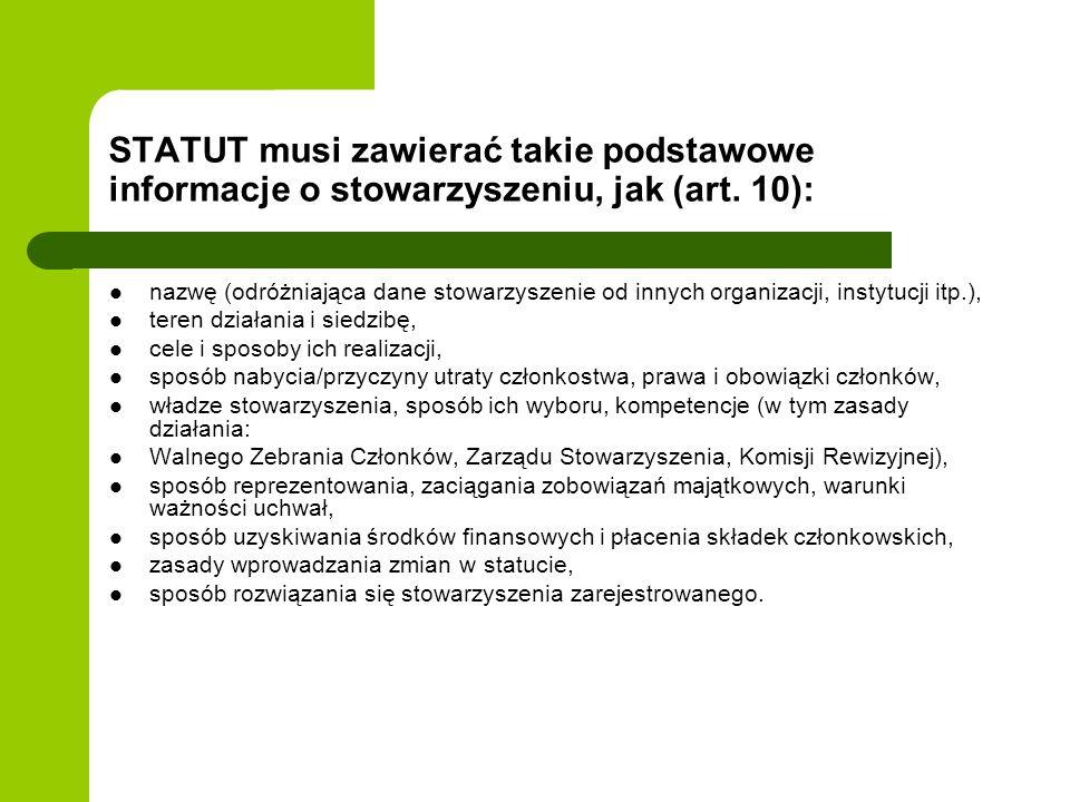 STATUT musi zawierać takie podstawowe informacje o stowarzyszeniu, jak (art.