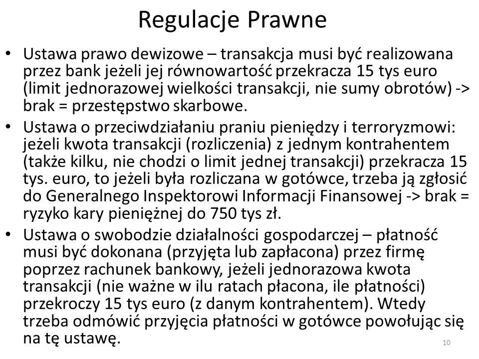 Regulacje Prawne Ustawa prawo dewizowe – transakcja musi być realizowana przez bank jeżeli jej równowartość przekracza 15 tys euro (limit jednorazowej wielkości transakcji, nie sumy obrotów) -> brak = przestępstwo skarbowe.