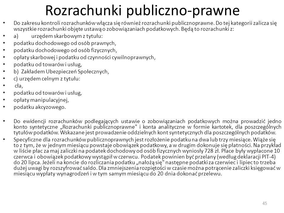 Rozrachunki publiczno-prawne Do zakresu kontroli rozrachunków włącza się również rozrachunki publicznoprawne.