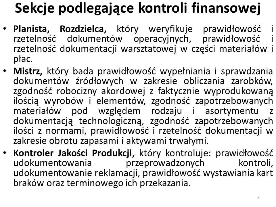 Kontrola kasy - przykłady Przykład I W filii spółki z o.o.
