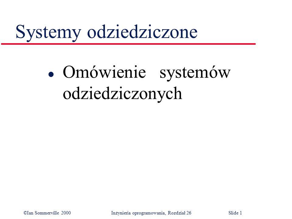 ©Ian Sommerville 2000 Inżynieria oprogramowania, Rozdział 26Slide 32 Główne tezy l Wśród systemów gospodarczych większość systemów odziedziczonych zaprojektowano jako systemy przetwarzania wsadowego lub systemy przetwarzania transakcyjnego.