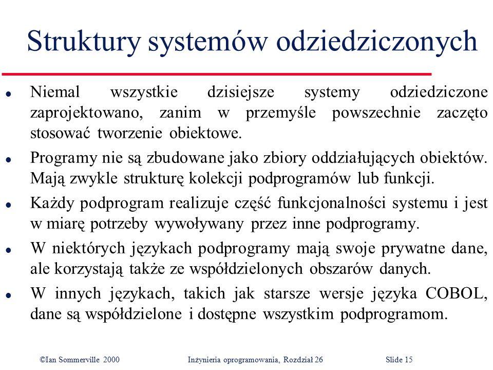 ©Ian Sommerville 2000 Inżynieria oprogramowania, Rozdział 26Slide 15 Struktury systemów odziedziczonych l Niemal wszystkie dzisiejsze systemy odziedziczone zaprojektowano, zanim w przemyśle powszechnie zaczęto stosować tworzenie obiektowe.
