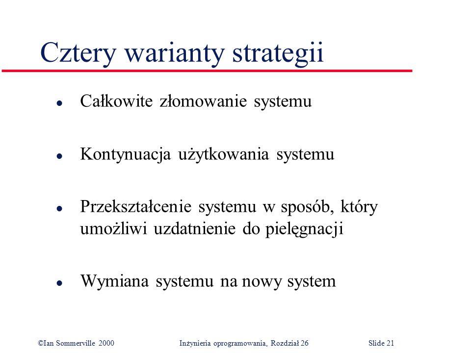 ©Ian Sommerville 2000 Inżynieria oprogramowania, Rozdział 26Slide 21 Cztery warianty strategii l Całkowite złomowanie systemu l Kontynuacja użytkowania systemu l Przekształcenie systemu w sposób, który umożliwi uzdatnienie do pielęgnacji l Wymiana systemu na nowy system