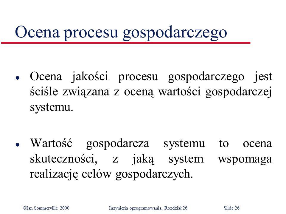 ©Ian Sommerville 2000 Inżynieria oprogramowania, Rozdział 26Slide 26 Ocena procesu gospodarczego l Ocena jakości procesu gospodarczego jest ściśle związana z oceną wartości gospodarczej systemu.