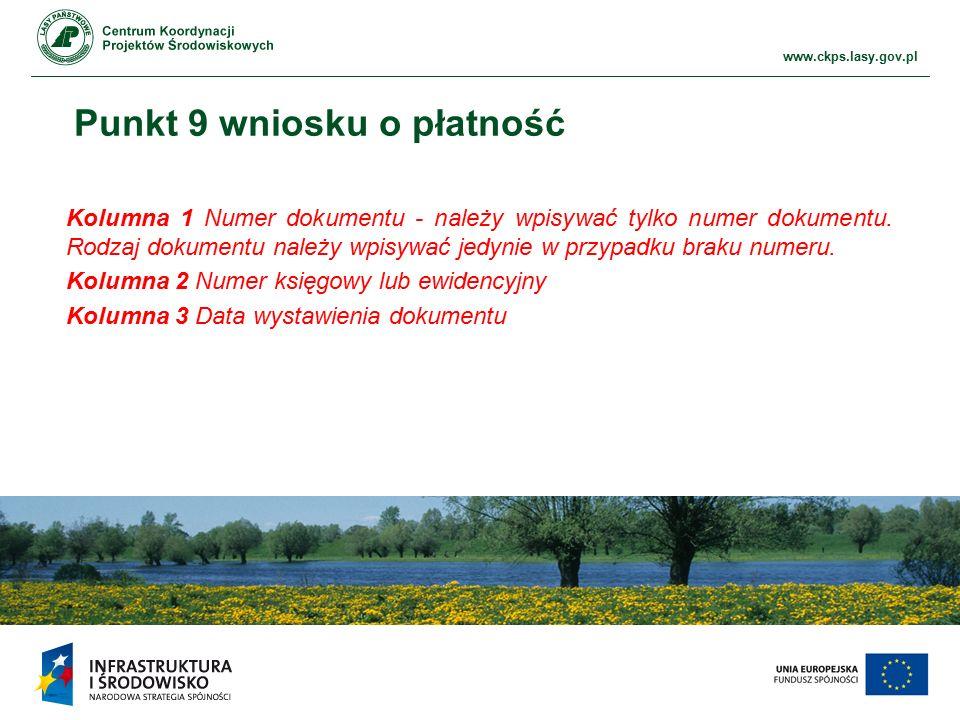 www.ckps.lasy.gov.pl Punkt 9 wniosku o płatność Kolumna 1 Numer dokumentu - należy wpisywać tylko numer dokumentu. Rodzaj dokumentu należy wpisywać je