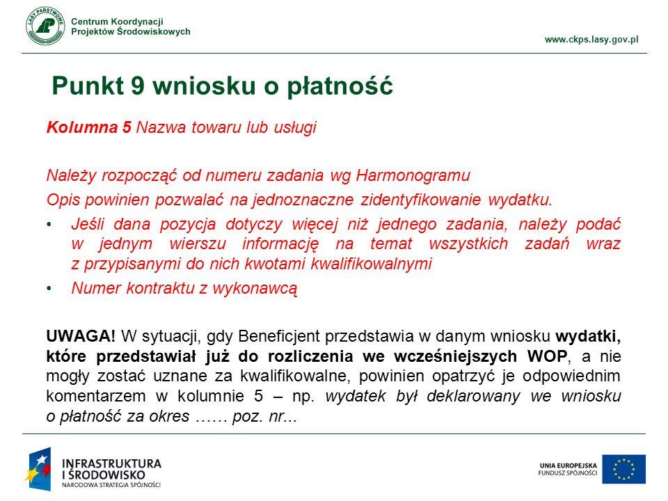 www.ckps.lasy.gov.pl Punkt 9 wniosku o płatność Kolumna 5 Nazwa towaru lub usługi Należy rozpocząć od numeru zadania wg Harmonogramu Opis powinien pozwalać na jednoznaczne zidentyfikowanie wydatku.
