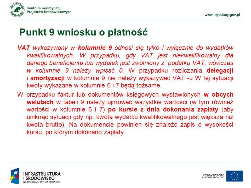 www.ckps.lasy.gov.pl Punkt 9 wniosku o płatność VAT wykazywany w kolumnie 9 odnosi się tylko i wyłącznie do wydatków kwalifikowalnych. W przypadku, gd