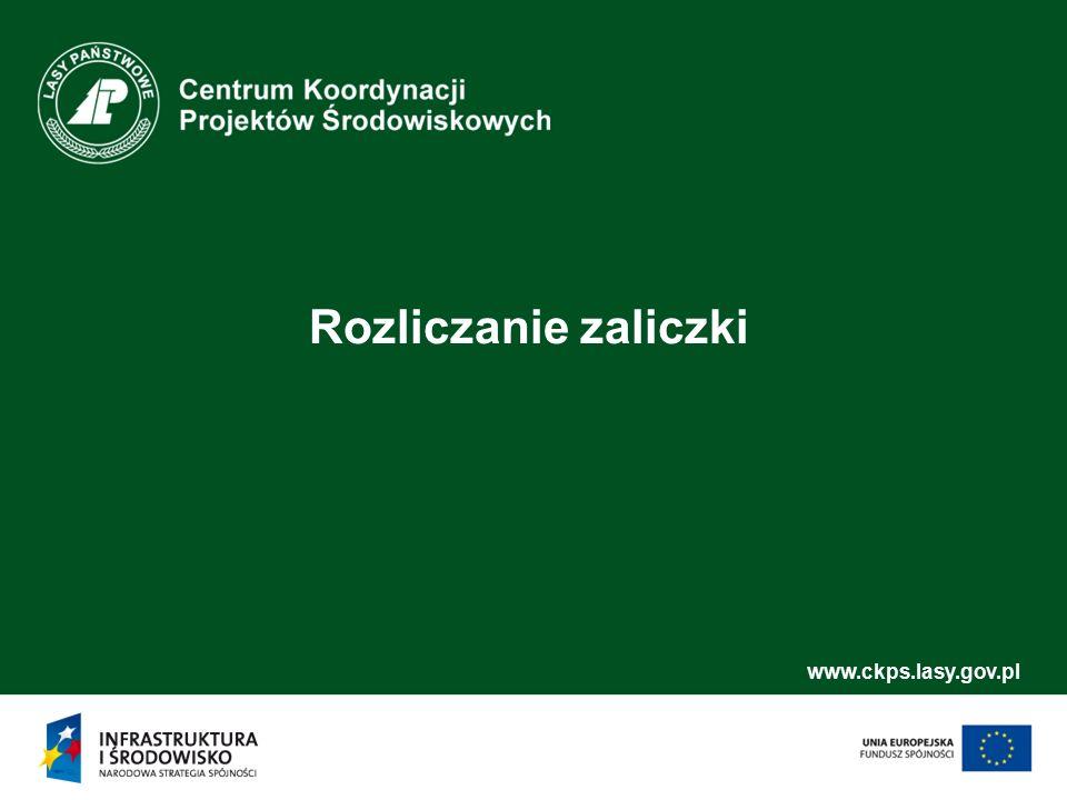 www.ckps.lasy.gov.pl Rozliczanie zaliczki