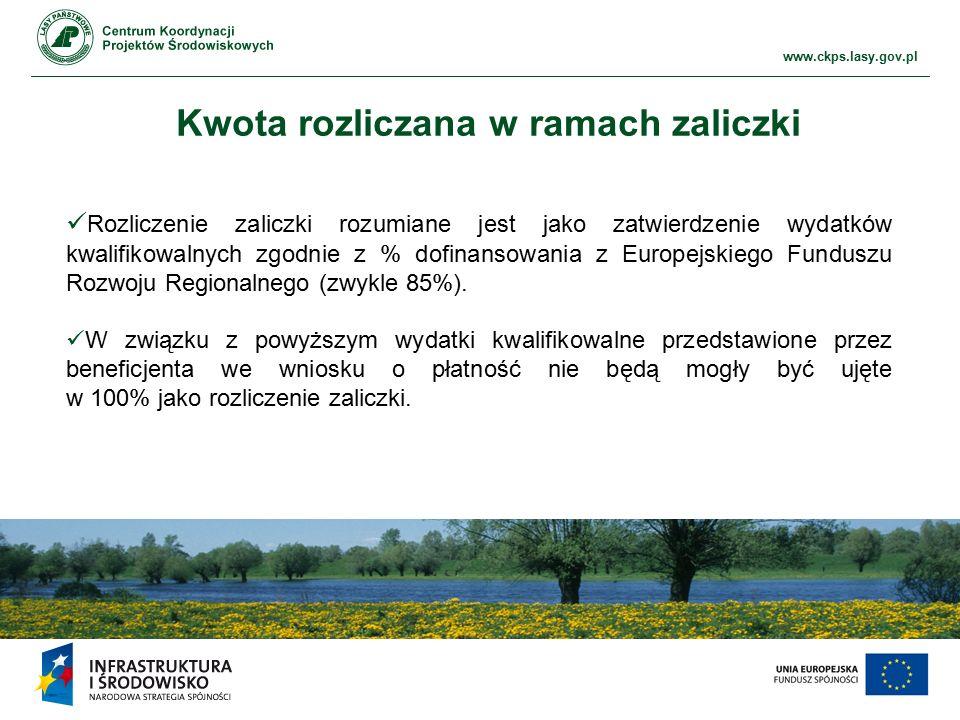 www.ckps.lasy.gov.pl Kwota rozliczana w ramach zaliczki Rozliczenie zaliczki rozumiane jest jako zatwierdzenie wydatków kwalifikowalnych zgodnie z % dofinansowania z Europejskiego Funduszu Rozwoju Regionalnego (zwykle 85%).