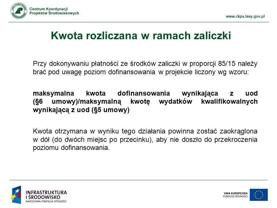 www.ckps.lasy.gov.pl Kwota rozliczana w ramach zaliczki Przy dokonywaniu płatności ze środków zaliczki w proporcji 85/15 należy brać pod uwagę poziom