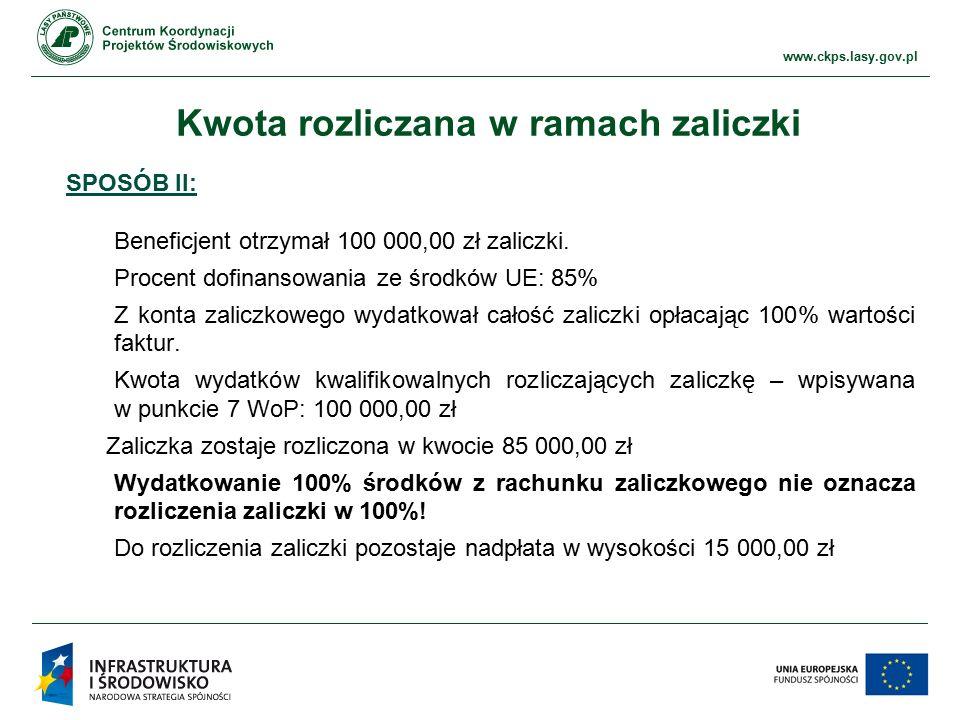 www.ckps.lasy.gov.pl Kwota rozliczana w ramach zaliczki SPOSÓB II: Beneficjent otrzymał 100 000,00 zł zaliczki. Procent dofinansowania ze środków UE: