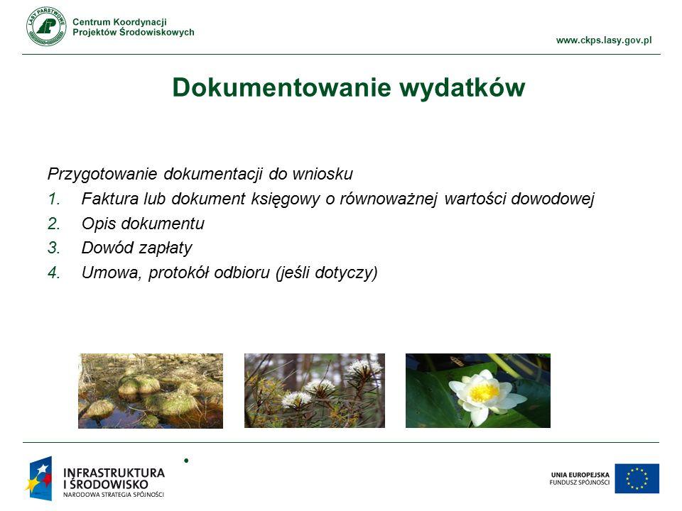www.ckps.lasy.gov.pl Dokumentowanie wydatków Przygotowanie dokumentacji do wniosku 1.Faktura lub dokument księgowy o równoważnej wartości dowodowej 2.Opis dokumentu 3.Dowód zapłaty 4.Umowa, protokół odbioru (jeśli dotyczy)