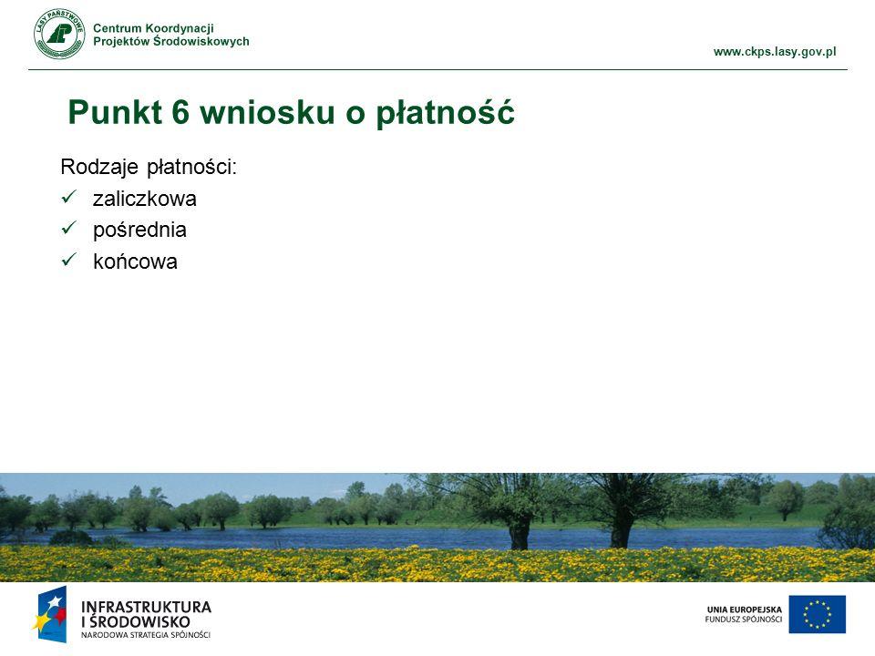 www.ckps.lasy.gov.pl Punkt 6 wniosku o płatność Rodzaje płatności: zaliczkowa pośrednia końcowa