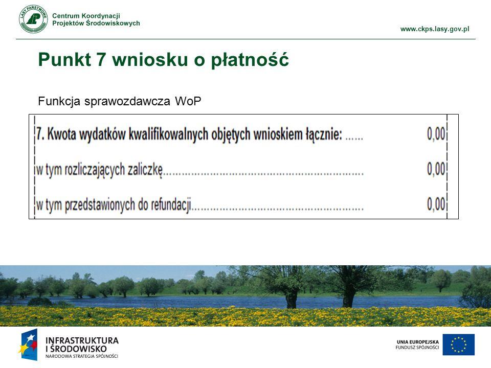 www.ckps.lasy.gov.pl Punkt 7 wniosku o płatność Funkcja sprawozdawcza WoP