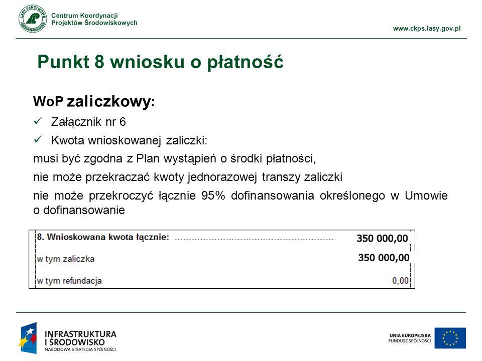 www.ckps.lasy.gov.pl Punkt 8 wniosku o płatność WoP zaliczkowy : Załącznik nr 6 Kwota wnioskowanej zaliczki: musi być zgodna z Plan wystąpień o środki płatności, nie może przekraczać kwoty jednorazowej transzy zaliczki nie może przekroczyć łącznie 95% dofinansowania określonego w Umowie o dofinansowanie