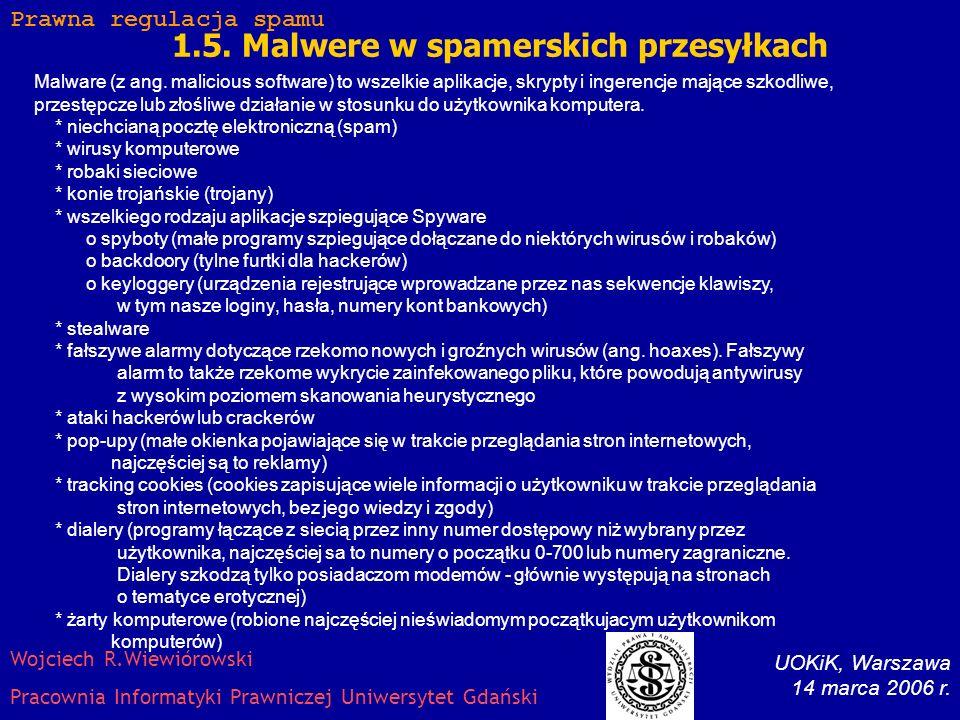 1.5.Malwere w spamerskich przesyłkach Malware (z ang.