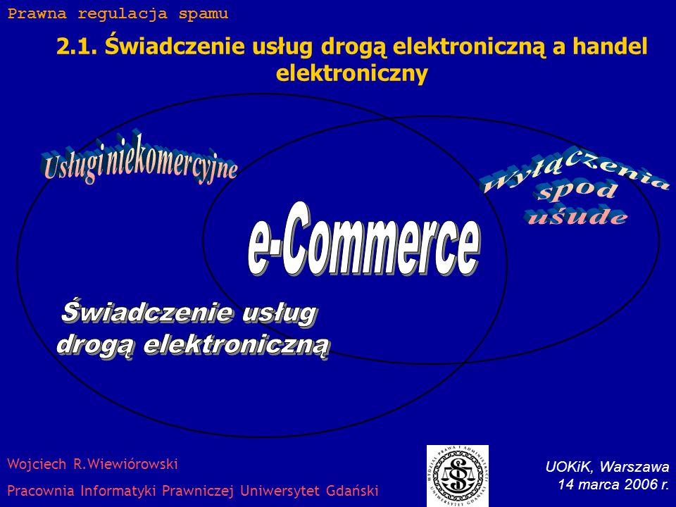 2. Regulacja spamu komercyjnego w Polsce Ustawa z dnia 18 lipca 2002 r. o świadczeniu usług drogą elektroniczną (Dz. U. z dnia 9 września 2002 r., Nr