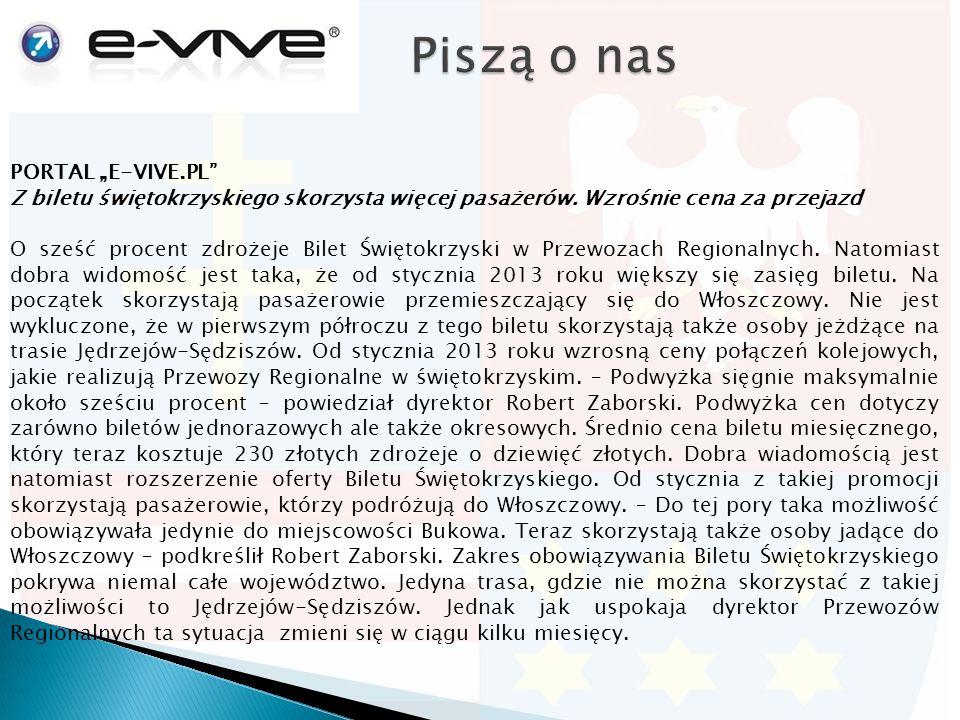 """PORTAL """"E-VIVE.PL Z biletu świętokrzyskiego skorzysta więcej pasażerów."""