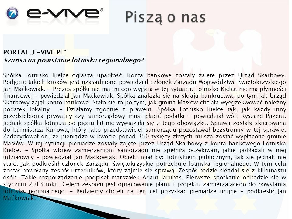"PORTAL ""E-VIVE.PL Szansa na powstanie lotniska regionalnego."