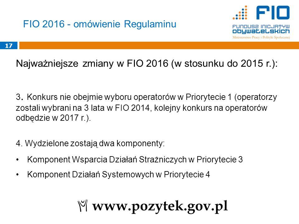 17 Najważniejsze zmiany w FIO 2016 (w stosunku do 2015 r.): 3. Konkurs nie obejmie wyboru operatorów w Priorytecie 1 (operatorzy zostali wybrani na 3